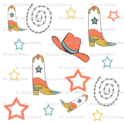 Southwest Cowboy Boots and Cowboy Hats in Blood Orange and Blue
