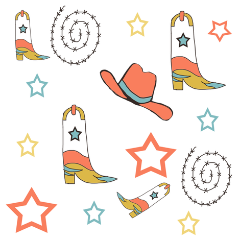 Southwest Cowboy Boots and Cowboy Hats in Blood Orange and Blue fabric by ireneireneart on Spoonflower - custom fabric
