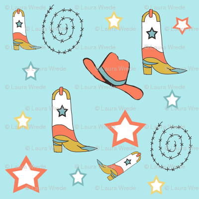 Southwest Cowboy Boots and Cowboy Hats Blue Background