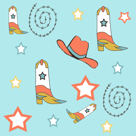 Southwest Cowboy Boots and Cowboy Hats Blue Background fabric by ireneireneart on Spoonflower - custom fabric