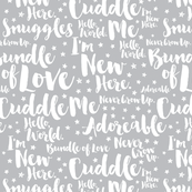 Baby Script Type Star White on Grey Large