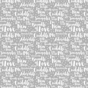 Baby Script Type Star White on Grey Small