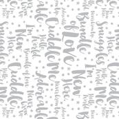 Baby Script Type Star Grey on White