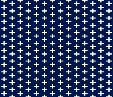 Navy Plus Sign Chunky fabric by sproutz on Spoonflower - custom fabric