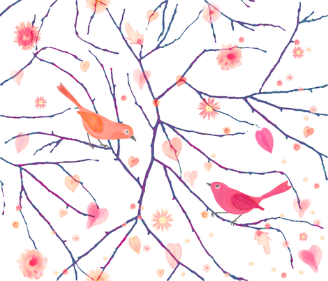 bird_in_love fabric by chawandesign on Spoonflower - custom fabric