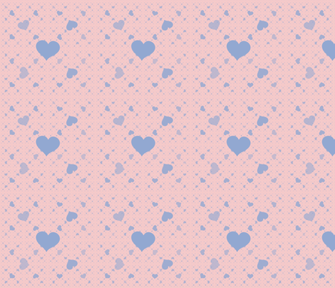 Blue Hearts on Pink fabric by mollywog2 on Spoonflower - custom fabric