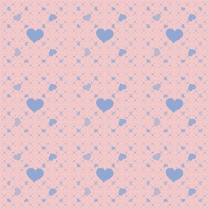 Blue Hearts on Pink