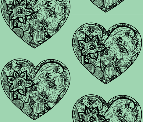 Zendoodle_heart_3 fabric by cloudsplitterbags on Spoonflower - custom fabric