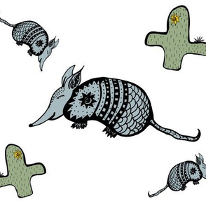Happy Armadillos white