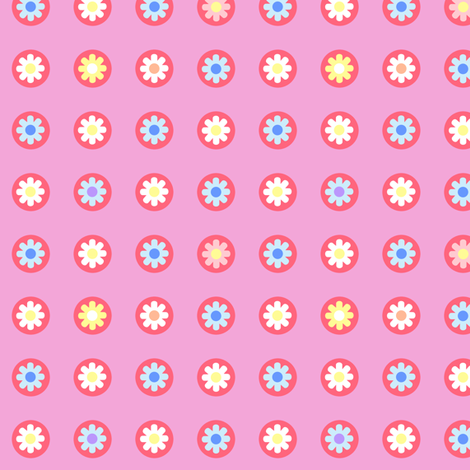 Pink Flower Polka Dots fabric by lyddiedoodles on Spoonflower - custom fabric