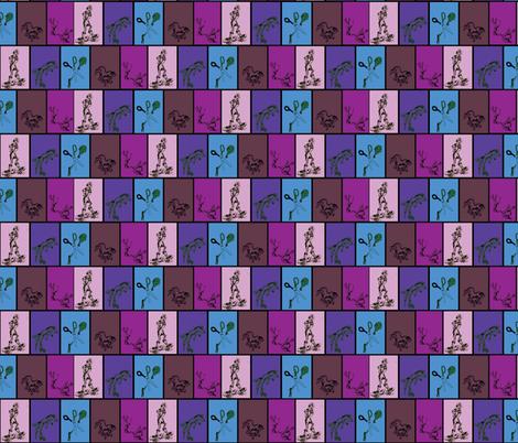 Whimsical Cartoon Doodles on blue, purple, pink, mauve fabric by lazella_rosetta on Spoonflower - custom fabric