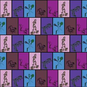 Whimsical Cartoon Doodles on blue, purple, pink, mauve