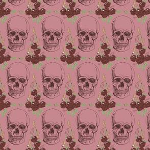 Dark Floral Skulls Pink