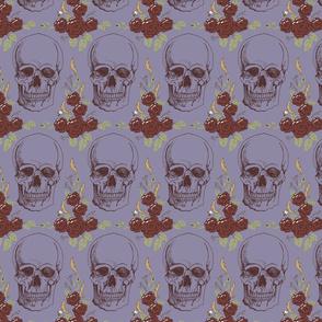 Dark Floral Skulls Mauve