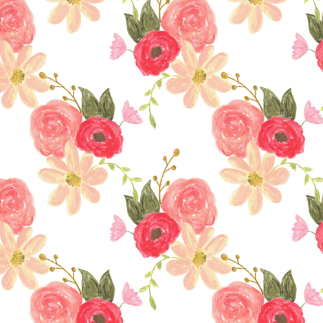 Rosie floral fabric by mintpeony on Spoonflower - custom fabric
