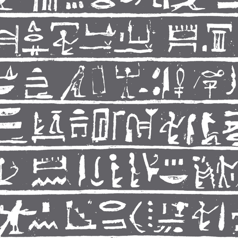 Hieroglyphics on Charcoal // Small fabric by thinlinetextiles on Spoonflower - custom fabric