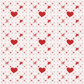 Red Hearts on White