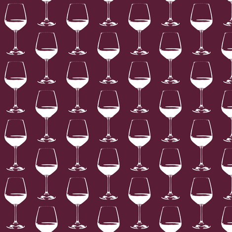 "Wine Glass on Cabernet - Small (2"") fabric by thinlinetextiles on Spoonflower - custom fabric"