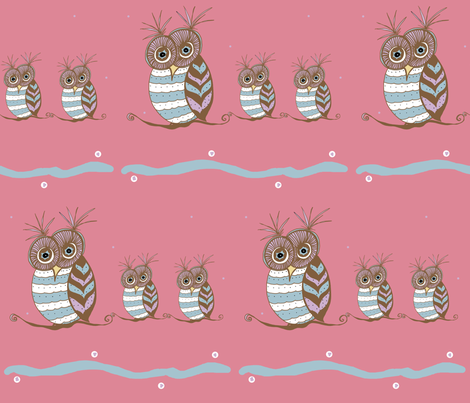 Whoootastic Owls Pink fabric by therustichome on Spoonflower - custom fabric