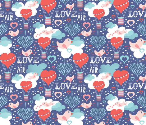 Love Is In The Air - Valentine's Day Hearts & Birds fabric by heatherdutton on Spoonflower - custom fabric