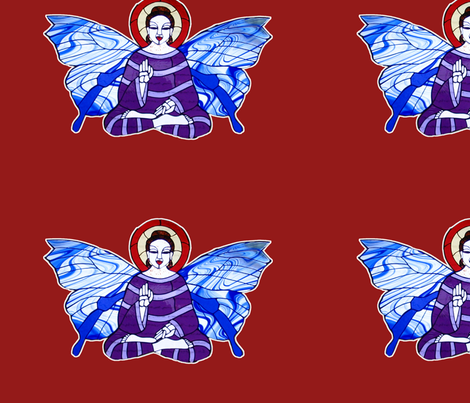 Purple and Lavender Buddha with Blue and white Butterfly wings on rich red background fabric by lazella_rosetta on Spoonflower - custom fabric