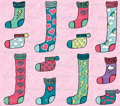 socks and hearts in pink