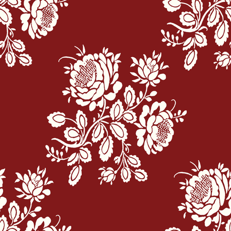 Kristianstad Rose in falu fabric by lilyoake on Spoonflower - custom fabric