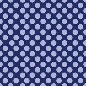 Polka Dotty in blue violet on ink