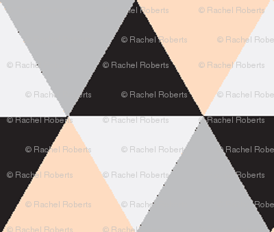 Peach and Black Triangle Mix - Peach, black, grey triangles - triangle blanket