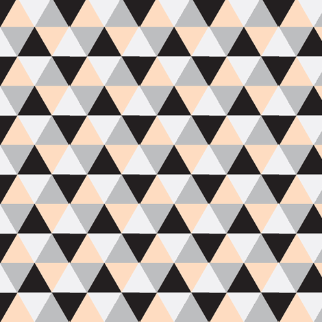 Peach and Black Triangle Mix - Peach, black, grey triangles - triangle blanket fabric by modfox on Spoonflower - custom fabric