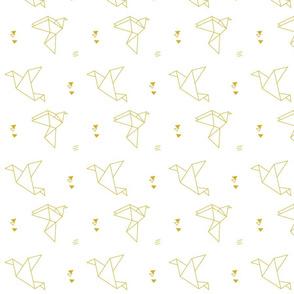 paper bird gold on white