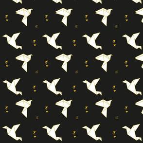 paper bird gold on black