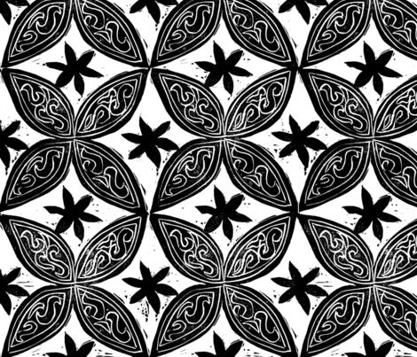 Circular Flowers Block Print fabric by joan_mcguire on Spoonflower - custom fabric
