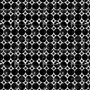 Black circles block print