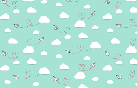 Paper Airplanes + Hearts fabric by cavutoodesigns on Spoonflower - custom fabric