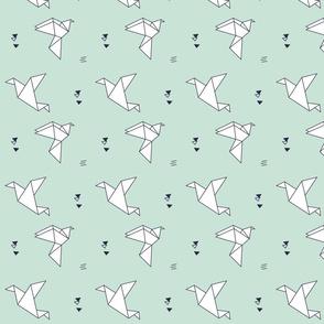 paper bird pastel mint