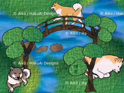 Japanese dogs in a Japanese garden