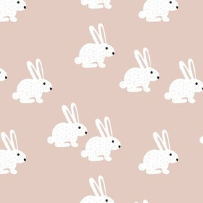 Soft pastel white bunny rabbit illustration for spring and easter kids design beige