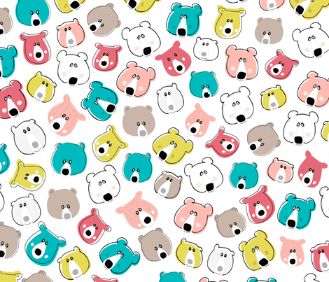 Happy Days Little Bears - Bright  fabric by michellemanolov on Spoonflower - custom fabric