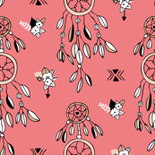 Bohemian indian summer dreamcatcher illustration feathers and aztec flowers detail illustration coral pink