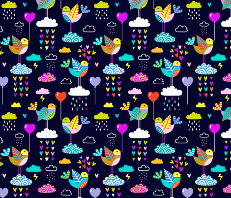 lovebirds - navy fabric by mirabelleprint on Spoonflower - custom fabric