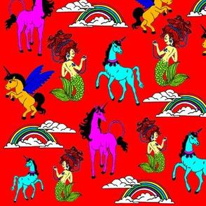 Unicorns, mermaids and rainbows RED