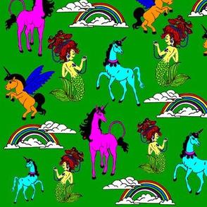 Unicorns, mermaid and rainbows GREEN