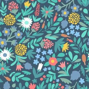 Summer flowers on blue