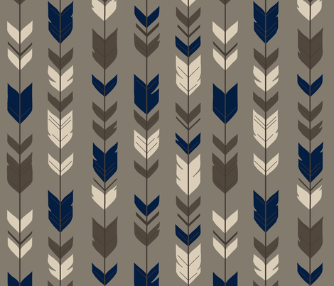 Arrow Feather-Cedar Ridge-brown/navy fabric by sugarpinedesign on Spoonflower - custom fabric