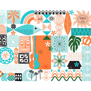na paila Tea Towel* (Orange and Turquoise) || Hawaii Hawaiian sun beach tropical palm trees atomic midcentury modern leaves flowers ukulele fish honu sea turtle rainbow tiki tribal waves ocean