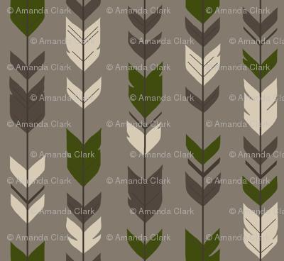Arrow Feather- Hunter - brown/green