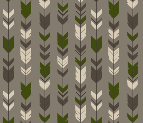 Arrow Feather- Hunter - brown/green fabric by sugarpinedesign on Spoonflower - custom fabric
