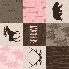 Be Brave Pink and Brown Quilt - ROTATED- moose, bear, antlers