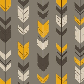 Arrow Feather- Hunter- brown/taupe/tangerine-
